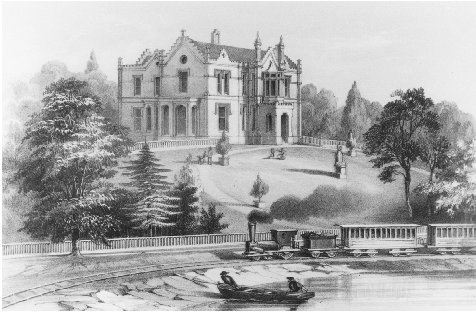 An Elizabethan-style villa. Illustration by Philadelphia architect Samuel Sloan from his 1852 book The Model Architect. During this era of rapid change, historicism in architecture contrasted strikingly with the novelty of technical innovations