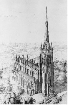 Trinity Church, New York City. Engraving c. 1846. THE LIBRARY OF CONGRESS