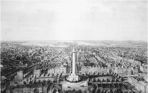 Birds-eye view of Baltimore, c. 1862. At the center of this lithograph is the Washington Monument, designed by Robert Mills and built in 1829. Baltimores was the first monument to George Washington erected in the United States. THE LIBRARY OF C