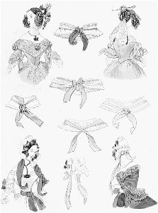 October bonnet and collar fashions for 1838. Ilustration from Godeys Ladys Book. BRITISH MUSEUM/BRIDGEMAN ART LIBRARY.
