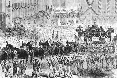 President Lincolns Funeral Procession in New York City. Illustration from Harpers Weekly, 1865. CORBIS
