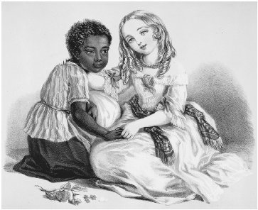 Eva and Topsy. Lithograph by Louisa Corbaux, c. 1852. Both characters from Uncle Toms Cabin exemplify the nineteenth-century view of the moral superiority of children. THE LIBRARY OF CONGRESS