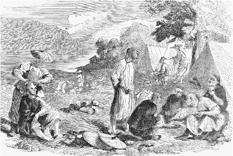Chinese miners. Illustration from Harpers Weekly, 3 October 1857. THE LIBRARY OF CONGRESS