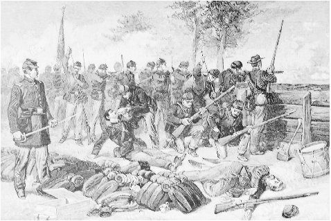The Battle of Gainess Mill and Its Preliminaries. Illustration from the article in the Century, 1885. GRADUATE LIBRARY, UNIVERSITY OF MICHIGAN.