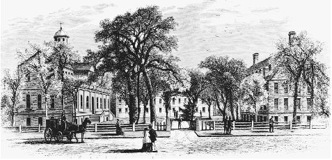 A nineteenth-century engraving of Harvard College and the Yard. BETTMANN/CORBIS