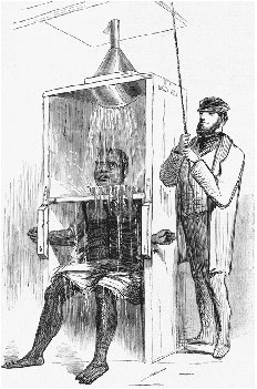 Cold shower bath depicted in Torture and Homicide in an American State Prison, Harpers Weekly, 18 December 1858. Originally captioned The Negro convict, More, showered to death. The article exposed abuses at Auburn State Prison in New York. CO