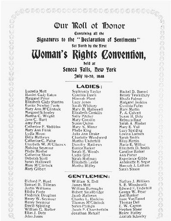 Our Roll of Honor. Card listing the signatories to the Declaration of Sentiments promulgated at the Seneca Falls Convention, 1848. THE LIBRARY OF CONGRESS