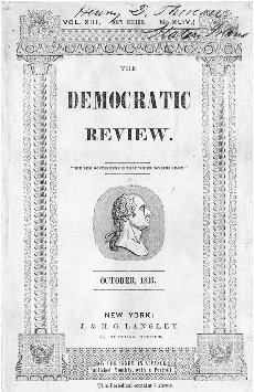 Title page of The Democratic Review, October 1843, signed by Henry David Thoreau. COURTESY OF THE CONCORD FREE PUBLIC LIBRARY