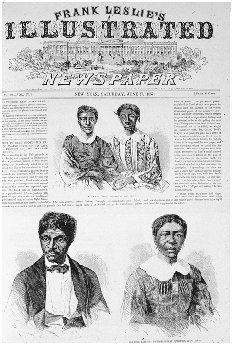 Scott and his wife (below) and their daughters (above). Front page of Frank Leslies Illustrated Newspaper, New York, 27 June 1857, discussing the Dred Scott case. GETTY IMAGES