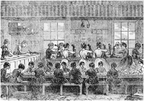 Illustration of young women and children working in Fishers Patent Label Manufactory, 1857. Factory writing of the nineteenth century reflected the predominance of female workers, frequently focusing on womens issues in addition to concerns suc