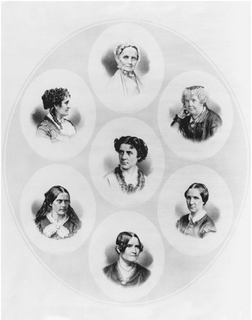 Representative Women. Lithograph composite of portraits of prominent feminists, c. 1870. Clockwise from top: Lucretia Coffin Mott, Elizabeth Cady Stanton, Mary Livermore, Lydia Maria Child, Susan B. Anthony, and Grace Greenwood. Anna Dickinson
