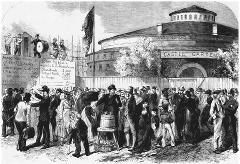 Newly arrived immigrants being recruited to serve in the Union Army during the Civil War. From the Illustrated London News, 17 September 1864. Castle Garden was the reception station for immigrants in New York City from 1855 to 1892. CORBIS