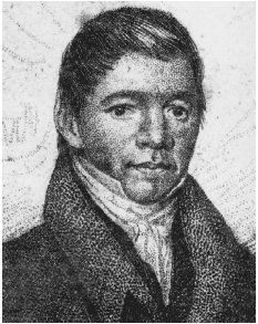 William Apess. Portrait engraving from the frontispiece to A Son of the Forest, 1829.