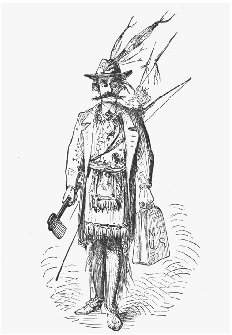 Illustration of Mark Twain dressed as an American Indian. From the first edition of Innocents Abroad, 1869. This drawing was later used in advertisements for the book. SPECIAL COLLECTIONS LIBRARY, UNIVERSITY OF MICHIGAN