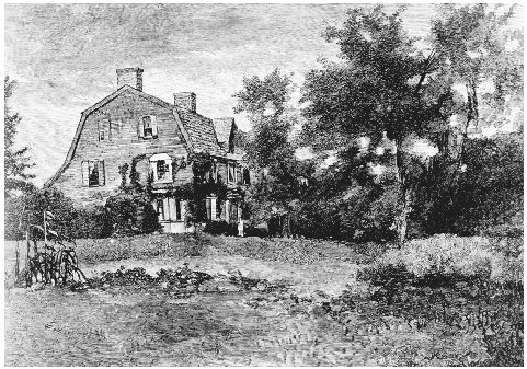 The Old Manse. Engraving, 1881. This house, where Nathaniel Hawthorne lived from 1842 to 1845, and its surrounding landscape provided inspiration for Hawthornes story collection Mosses from an Old Manse and sketches in his American Notebooks. T