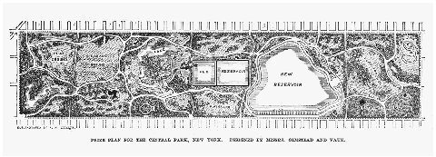 The Greensward Plan for New Yorks Central Park. Drawn by Frederick Law Olmsted and Calvert Vaux, 1858. THE GRANGER COLLECTION, NEW YORK