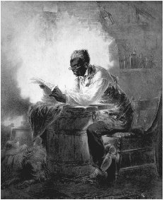 An elderly black man reads the news of the Emancipation Proclamation, c. 1863. Watercolor by Henry Louis Stephens. Stephenss picture captures the grim irony of the enslavement of human beings who possess the same potential for thinking, feeling