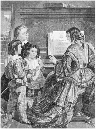 A family singing at a piano. Engraving by Capewell and Kimmel, c. 1850. The piano was a fixture in any home that could afford one during the nineteenth century. It provided entertainment for the family and guests, and learning to play was consi