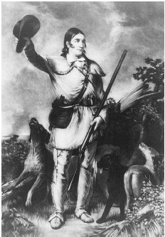 Davy Crockett. Engraving by Charles Gilbert Stuart after the painting by J. G. Chapman, 1839. THE LIBRARY OF CONGRESS