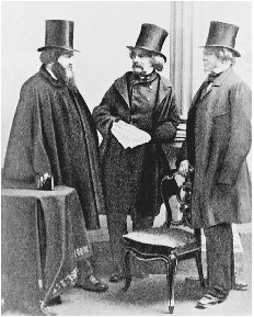 Photograph of (from left) James T. Fields, Nathaniel Hawthorne, and William Davis Ticknor. Ticknor and Fields published many of the nineteeth centurys most prominent American and English authors. BETTMANN/CORBIS