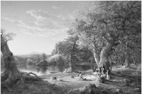 The Picnic, 1846. Painting by Thomas Cole. The pastoral setting of this painting is meant to represent an idealized middle landscape falling between an increasingly complex, industrialized civilization and raw wilderness. BROOKLYN MUSEUM OF AR
