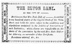 The stock certificate illustration from Ruth Hall. COURTESY OF JOYCE W. WARREN