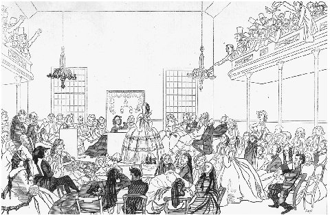 The Seneca Falls Convention. Illustration from Harpers Weekly, 11 June 1859. The cartoonist emphasizes popular opinions of early feminists as angry, humorless fanatics. THE LIBRARY OF CONGRESS