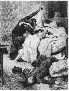 Illustration for Poes Murders in the Rue Morgue. Engraving by Eugene Michel Abot after a painting by Daniel Urrabieta Vierge. Widely regarded as the progenitor of the detective story, Poes tale of murders by an orangutan was a radical departure