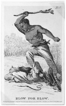 Blow for Blow, c. 1863. Lithograph by H. L. Stephens, from a series of cards depicting aspects of slavery. THE LIBRARY OF CONGRESS