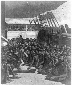 Slaves aboard the ship Wildfire. Illustration from Harpers Weekly, 2 June 1860. The importation of slaves had been declared illegal in the United States in 1808, but the practice nevertheless continued. The slave ship pictured here was intercep