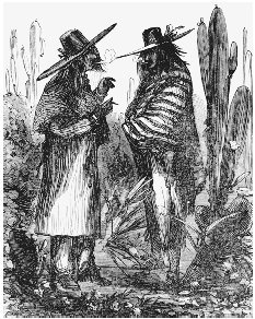 Illustration from Colonel Frank Tripletts Conquering the Wilderness, 1883. After 1848, the stereotype of Mexicans as sinister characters became commonplace in the public imagination. This engraving labels Mexicans as Greasers; a nearby illustra
