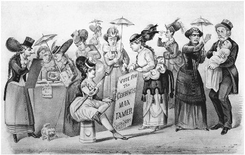 The Age of Brass; or, The Triumphs of Womans Rights, 1869. Lithograph by Currier Ives. Fears of female dominance resulting from womens suffrage are expressed in this cartoon. THE LIBRARY OF CONGRESS