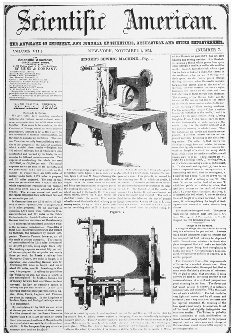 The cover of the journal Scientific American, 1 November 1851, heralding Isaac Singers invention of the continuous stitch sewing machine. Although Singer was only one of the inventors involved in the development of the sewing machine, his compa