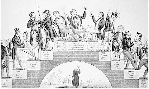 The Drunkards Progress. Lithograph by Nathaniel Currier, c. 1846. Currier depicts what many believed was the alltoo-common fate of those who consumed alcohol: escalating consumption and degradation culminating in a miserable death. THE LIBRARY