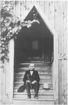 Amos Bronson Alcott on the steps of the Concord School of Philosophy. COURTESY OF THE CONCORD FREE PUBLIC LIBRARY