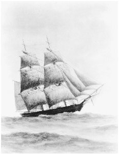 Painting of the Pilgrim, on which Richard Henry Dana Jr. sailed to California in 1834. COURTESY OF THE SAN DIEGO HISTORICAL SOCIETY