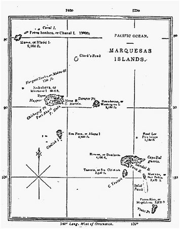 Map of the Marquesas Islands. Frontispiece from the first edition of Typee. THE GRANGER COLLECTION, NEW YORK