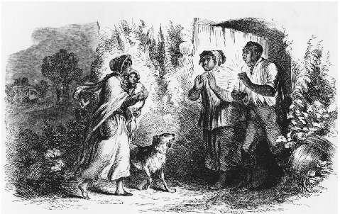Eliza Comes to Tell Uncle Tom that She is Sold, and that She is Running Away to Save Her Child. Illustration by Hammatt Billings for the first edition of Uncle Toms Cabin. THE LIBRARY OF CONGRESS