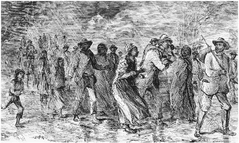 Fugitive Slaves Escape from the Eastern Shore of Maryland. Wood engraving from William Stills The Underground Railroad, 1872. The son of a former slave, Still assisted fugitive slaves on their journey to Canada and collected their stories in wh