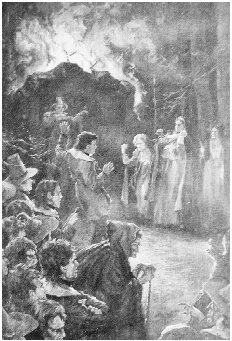 Young Goodman Brown, his Wife Faith, and All the Other Prospective Converts are Brought Before the Devil Figure. Illustration from the autograph edition of the Complete Writings of Hawthorne, 1900. GRADUATE LIBRARY, UNIVERSITY OF MICHIGAN