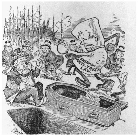 A cartoon illustrating antitrust legislation attacking monopolies.