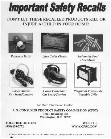 A safety recall poster highlighting possible dangers to children.