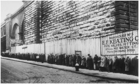 Men waiting for job openings during the Great Depression of the 1930s.