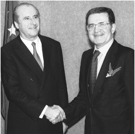 Romano Prodi (right), president of the European Union Commission.