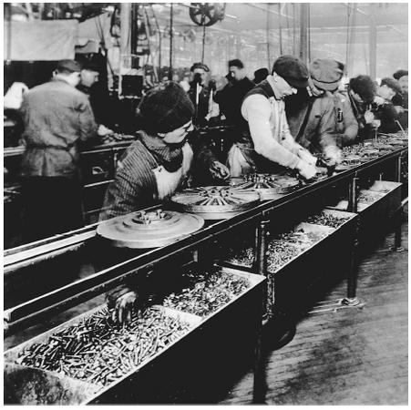 An early assembly line in Highland Park, Michigan.