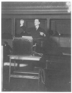 "Leon Theremin. Professor Theremin playing ""Theremin"" sound instrument. Archive Photos, Inc. Reproduced by permission"