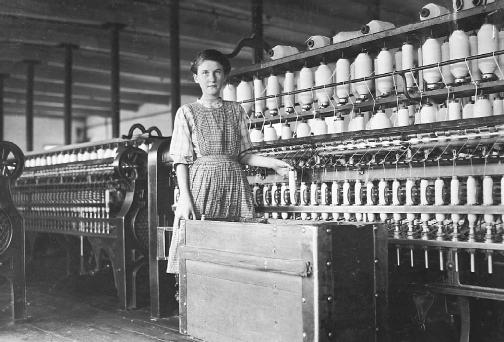 Like this girl, Harriet Hanson Robinson worked in a textile mill in her youth.