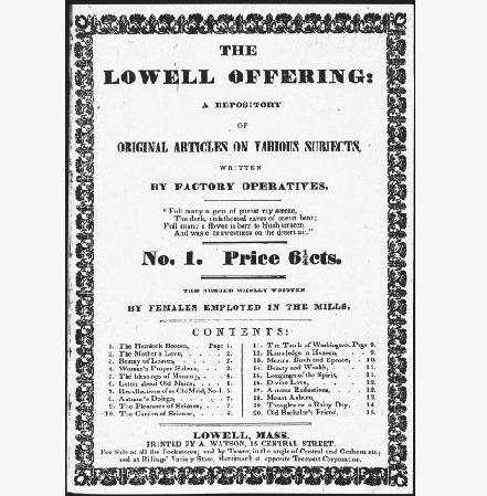 Title page of an 1840 issue of the Lowell Offering.