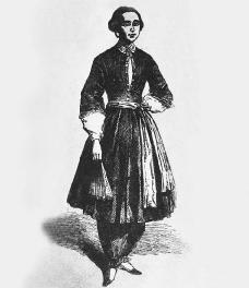 Amelia Bloomer, publisher of The Lily, wearing bloomers.