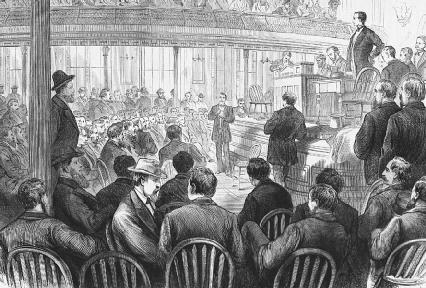 Grange members gathered at a convention in Chicago. The Grange was a group of angry farmers working for railroad regulation.